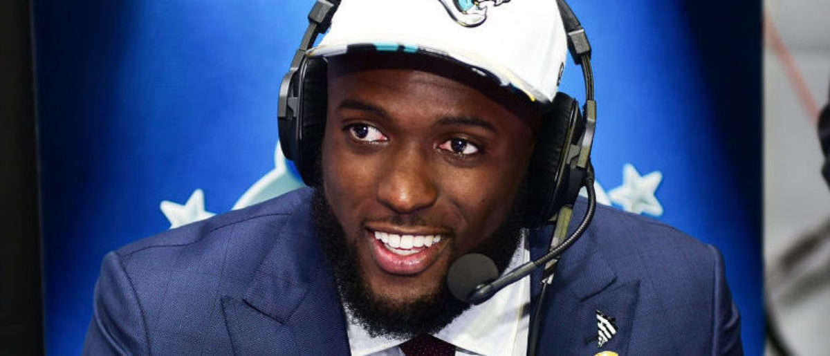 Leonard Fournette of LSU visits the SiriusXM NFL Radio talkshow after being picked #4 overall by the Jacksonville Jaguars during the first round of 2017 NFL Draft at Philadelphia Museum of Art on April 27, 2017 in Philadelphia, Pennsylvania. (Photo by Lisa Lake/Getty Images for SiriusXM)
