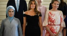 First Lady of the US Melania Trump attends dinner with other first ladies in Brussels in an off-the-shoulder black dress. / AFP PHOTO / BELGA / YORICK JANSENS / Belgium OUT        (Photo credit should read YORICK JANSENS/AFP/Getty Images)