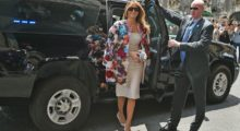 Melania Trump arrives for a visit at the Chierici Palace City Hall of Catania on the sidelines of a G7 summit of the Heads of State and of Government in Taormina, on May 26, 2017 in Sicily in a breathtaking floral coat. / AFP PHOTO / GIOVANNI ISOLINO        (Photo credit should read GIOVANNI ISOLINO/AFP/Getty Images)