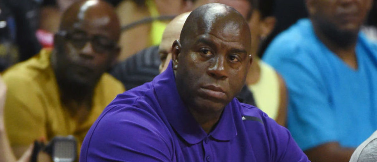 "Los Angeles Lakers president of basketball operations Earvin ""Magic"" Johnson watches the Lakers take on the Boston Celtics during the 2017 Summer League at the Thomas & Mack Center on July 8, 2017 in Las Vegas, Nevada. Boston won 86-81. (Photo by Ethan Miller/Getty Images)"