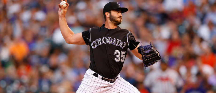 Starting pitcher Chad Bettis #35 of the Colorado Rockies delivers to home plate during the fourth inning against the Atlanta Braves at Coors Field on August 14, 2017 in Denver, Colorado. The Rockies defeated the Braves 3-0. Bettis is making his first start of the season following treatment for testicular cancer. (Photo by Justin Edmonds/Getty Images)