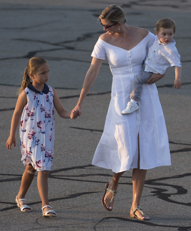 Ivanka Trump, daughter of US President Donald Trump, along with her children, Arabella (L) and Theodore, walk to board Air Force One prior to departure Morristown Municipal Airport in Morristown, New Jersey, August 20, 2017, as Trump returns to Washington, DC, following a 17-day vacation at his property in Bedminster, New Jersey. / AFP PHOTO / SAUL LOEB (Photo credit should read SAUL LOEB/AFP/Getty Images)
