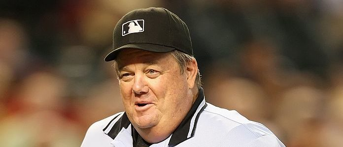 PHOENIX - JULY 08: Home plate umpire Joe West during the major league baseball game between the San Diego Padres and the Arizona Diamondbacks at Chase Field on July 8, 2009 in Phoenix, Arizona. (Photo by Christian Petersen/Getty Images)