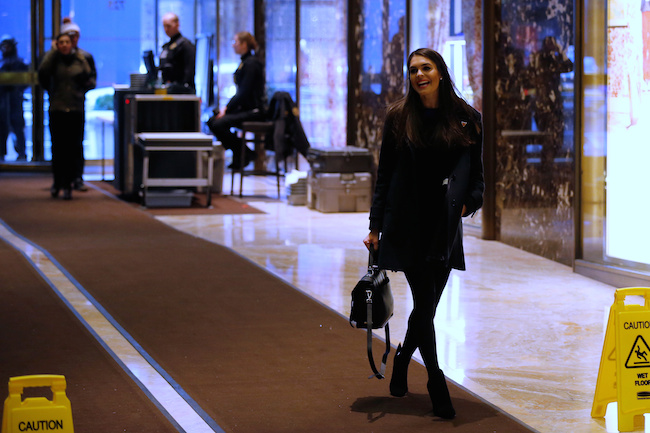 Hope Hicks, spokeswoman for U.S. President-elect Donald Trump, arrives at Trump Tower in New York, January 2, 2017. REUTERS/Jonathan Ernst