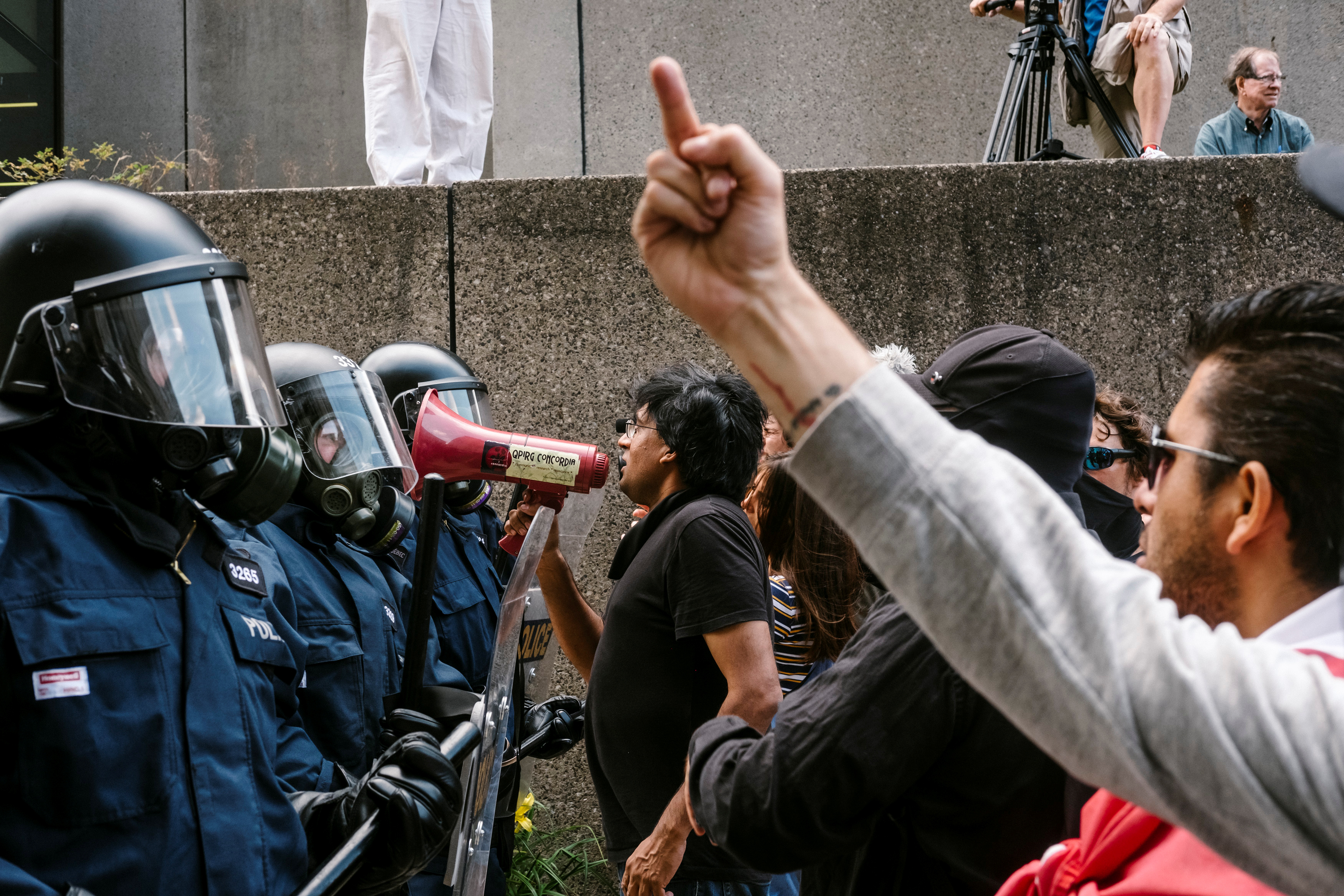 """A Quebec City """"anti-fascist"""" counter-demonstration turned violent Sunday as local police had to wear riot gear to quell the public disturbance."""