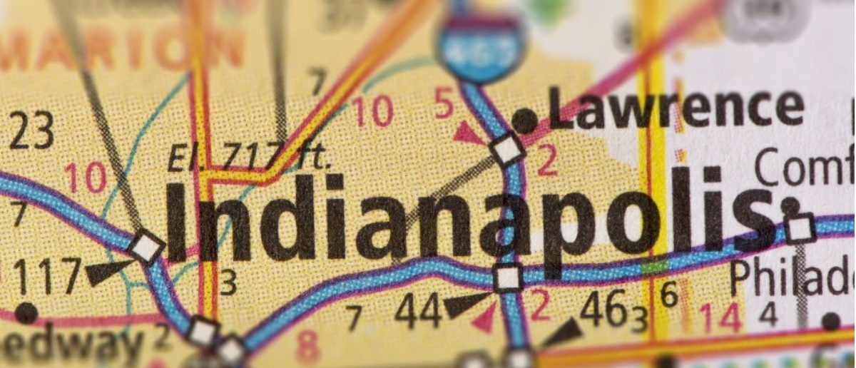 Closeup of Indianapolis, Indiana on a road map of the United States. Shutterstock/Icemanj.
