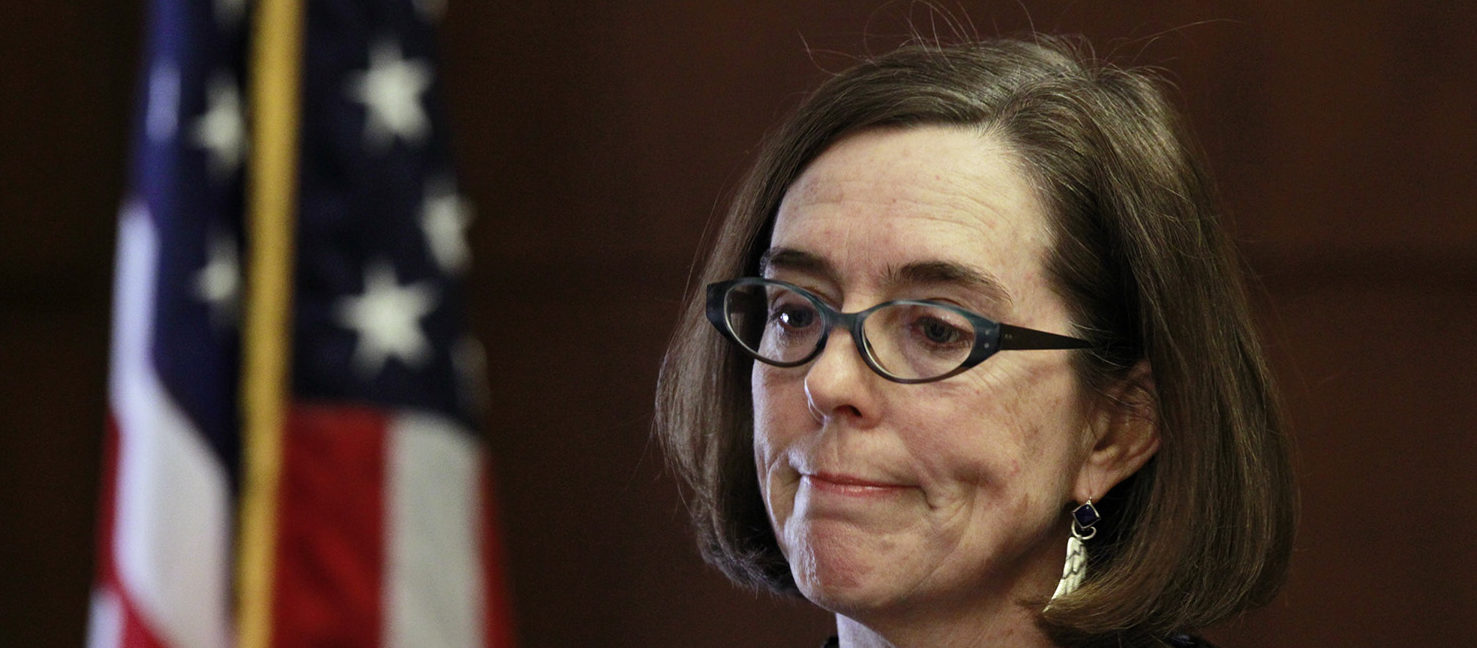 Oregon Governor Kate Brown speaks at the state capital building in Salem, Oregon, February 20, 2015. (PHOTO: REUTERS/Steve Dipaola)