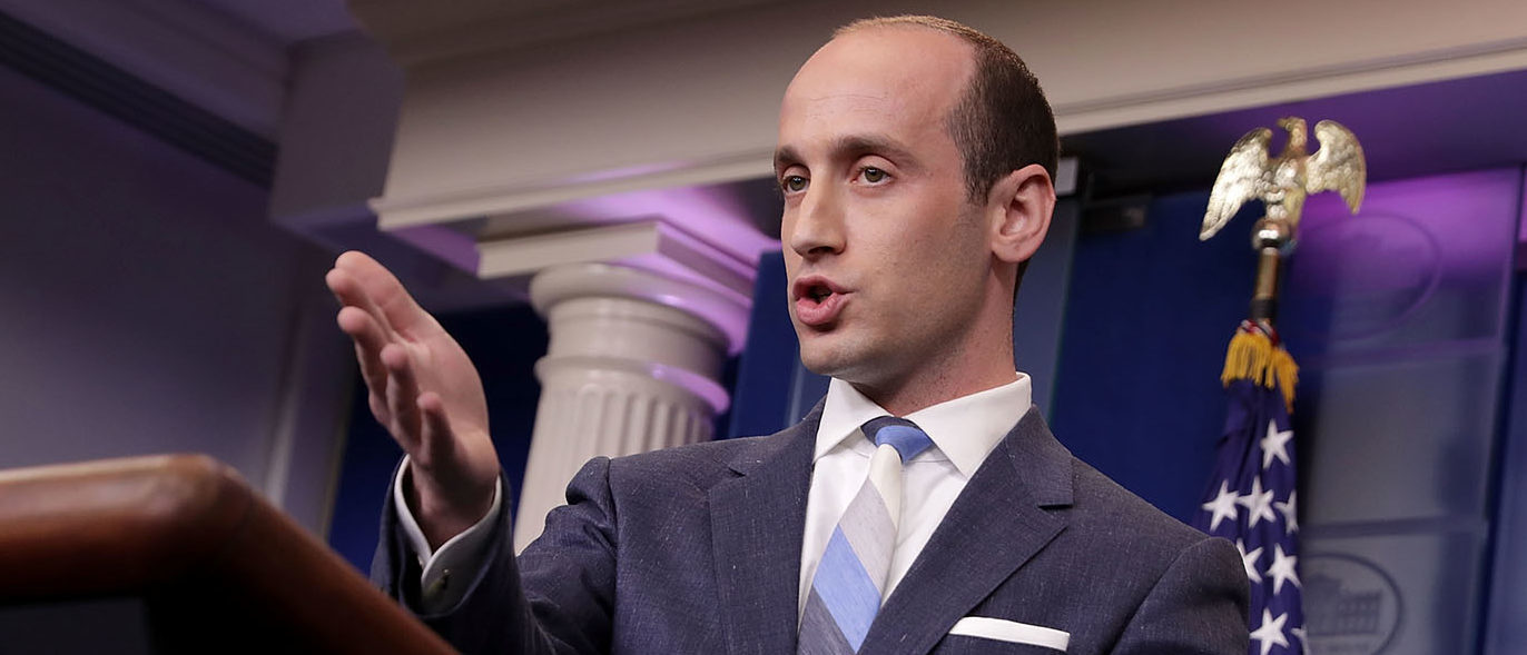 Senior Advisor to the President for Policy Stephen Miller talks to reporters about President Donald Trump's support for creating a 'merit-based immigration system' in the James Brady Press Briefing Room at the White House August 2, 2017 in Washington, DC. Earlier in the day President Donald Trump signed bipartisan legislation into law placing new sanctions on Russia and reducing his ability to lift the sanctions on Moscow. (Photo by Chip Somodevilla/Getty Images)