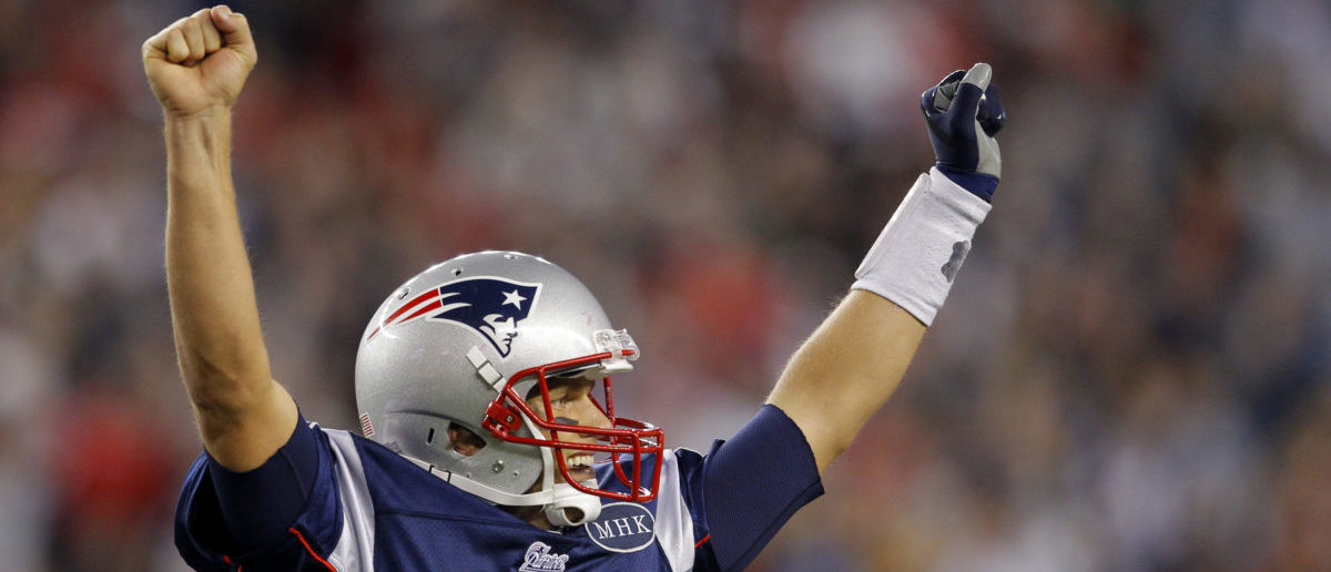 Tom Brady celebrates a touchdown in a game against the San Diego Chargers.