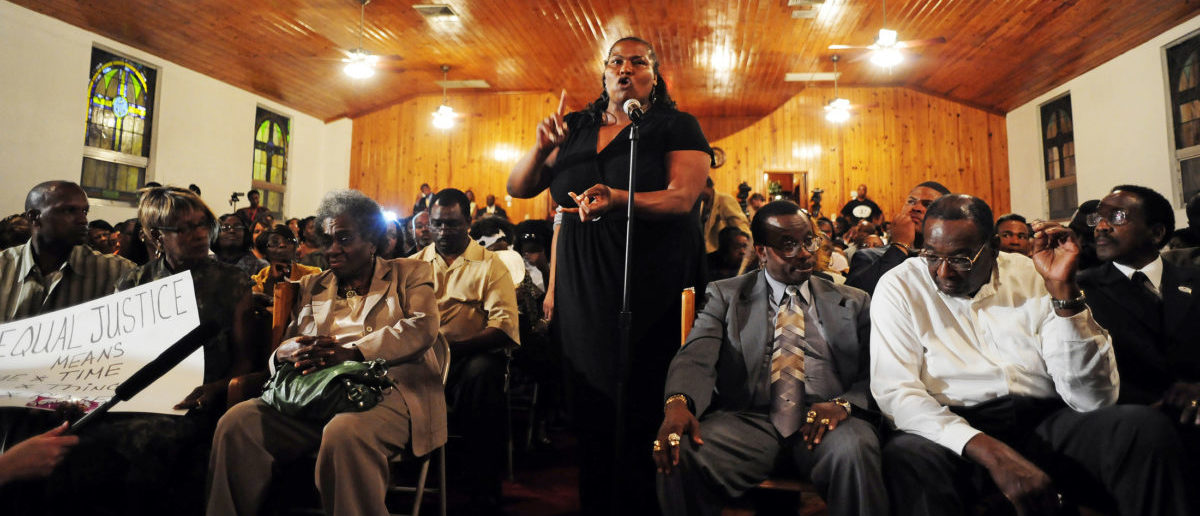 Cindy Philemon speaks during a NAACP town hall meeting about the shooting death of Trayvon Martin at Allen Chapel A.M.E. Church in Sanford, Florida March 20, 2012. The case of unarmed 17-year-old black teenager Martin, shot dead by a white neighborhood watch captain, who police have failed to arrest will go before a grand jury, Florida prosecutors said on Tuesday. REUTERS/David Manning