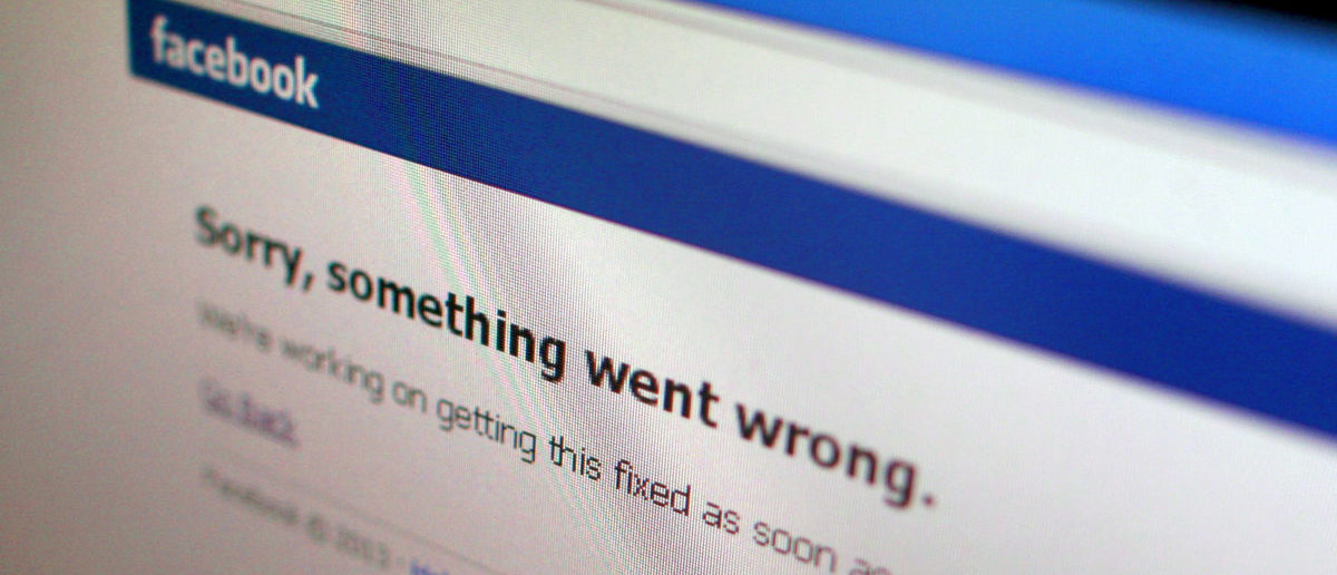 """A Facebook error message is seen in this illustration photo of a computer screen in Singapore June 19, 2014. Facebook Inc's website appeared to be back up on Thursday a few minutes after it displayed a message saying """"Sorry, something went wrong"""". The outage was reported in several countries, including China, Singapore and India. REUTERS/Thomas White"""