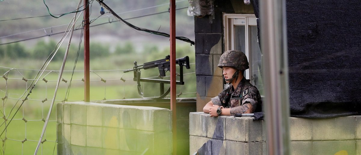 A South Korean soldiers stands guard at a guard post near the demilitarised zone separating the two Koreas in Paju, South Korea, August 10, 2017.  REUTERS/Kim Hong-Ji
