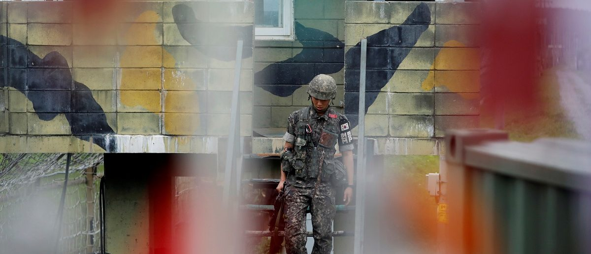 A South Korean soldier stands guard at a guard post near the demilitarized zone separating the two Koreas in Paju, South Korea, August 14, 2017. REUTERS/Kim Hong-Ji