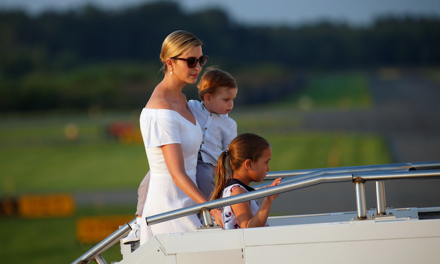 Ivanka Trump with children Arabella and son Theodore board Air Force One in Morristown, New Jersey, U.S., on their way back to Washington August 20, 2017. REUTERS/Kevin Lamarque - RTS1CKVL