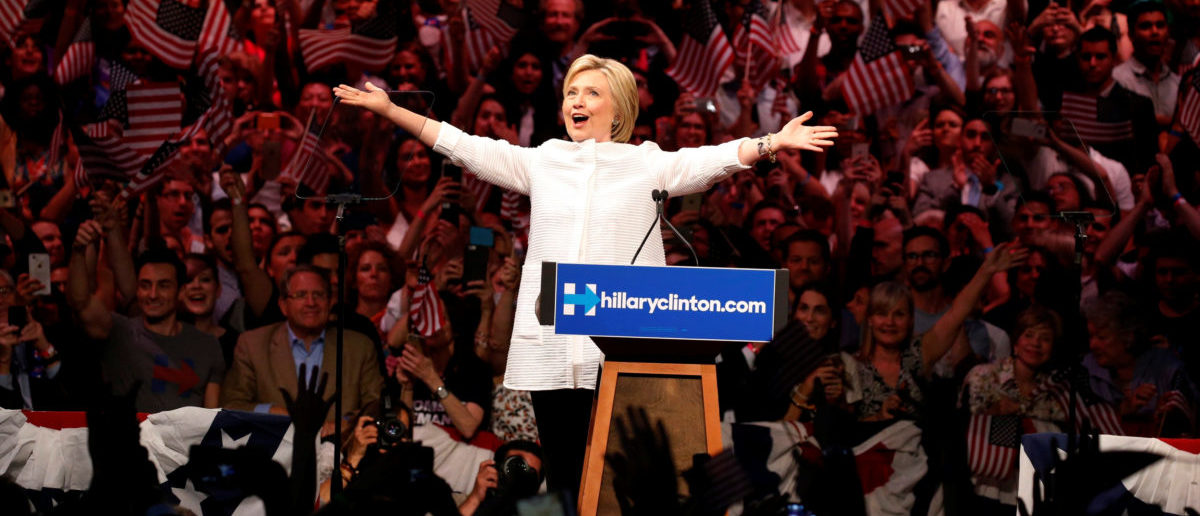 Democratic U.S. presidential candidate Hillary Clinton arrives to speak during her California primary night rally held in the Brooklyn borough of New York, U.S., June 7, 2016. REUTERS/Lucas Jackson
