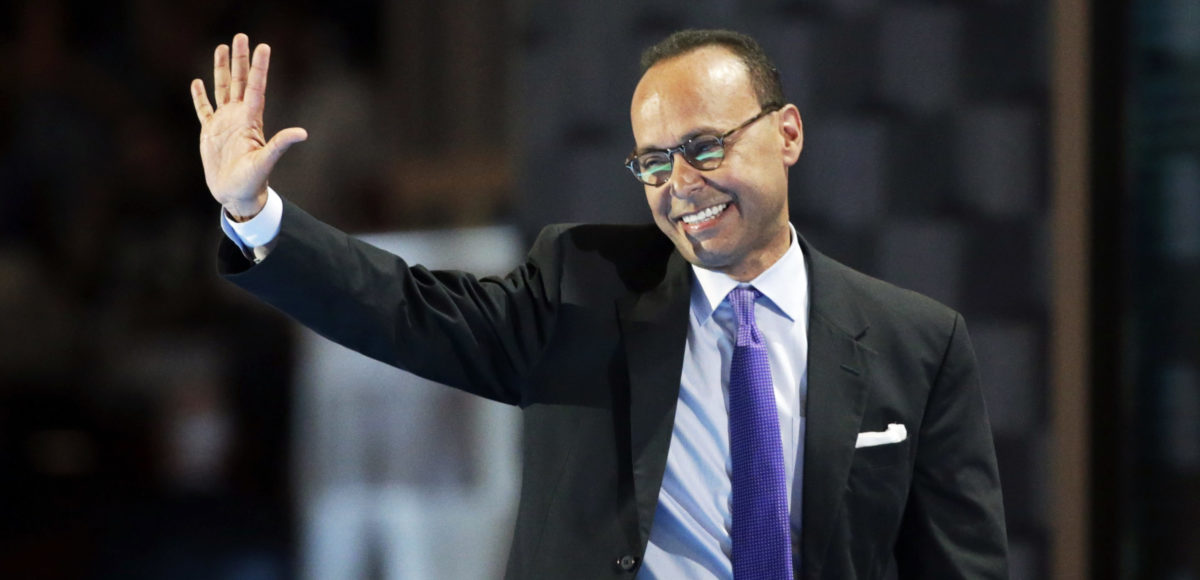 Representative Luis Gutierrez (D-IL) waves after speaking at the Democratic National Convention in Philadelphia, Pennsylvania, U.S. July 25, 2016. REUTERS/Gary Cameron - RTSJM2Q