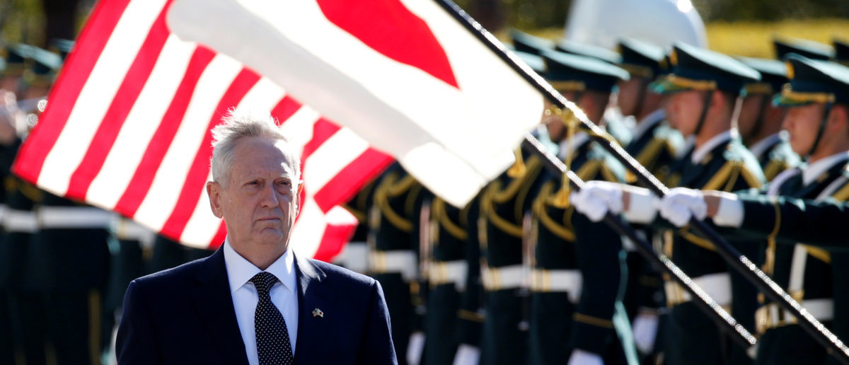 U.S. Defense Secretary Jim Mattis reviews the honour guard before a meeting with Japan's Defense Minister Tomomi Inada at the Defense Ministry in Tokyo, Japan, February 4, 2017. REUTERS/Toru Hanai