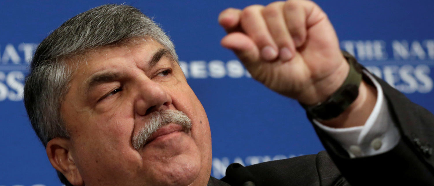AFL-CIO President Richard Trumka speaks during a National Press Club luncheon to discuss the labor movement's strategy under Trump's administration, in Washington, U.S., April 4, 2017. REUTERS/Yuri Gripas