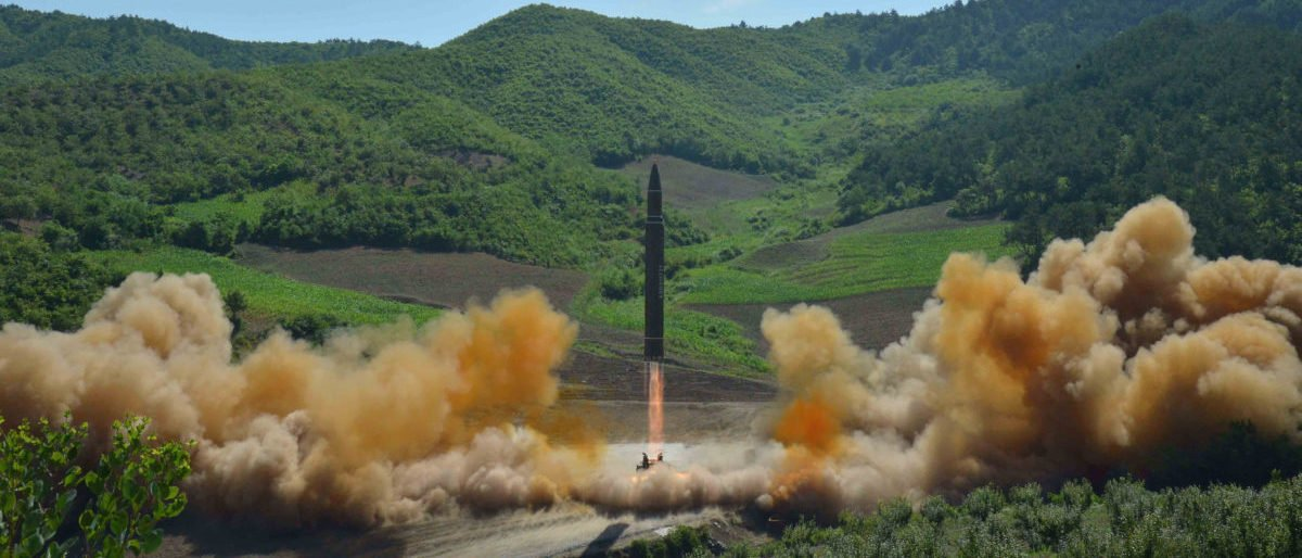 The intercontinental ballistic missile Hwasong-14 is seen during its test launch in this undated photo released by North Korea's Korean Central News Agency (KCNA) in Pyongyang, July, 4 2017. KCNA/via REUTERS