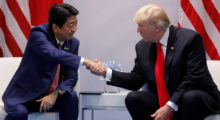 Donald Trump's uncomfortably long and aggressive handshakes have been gold nuggets for video remixers around the country (REUTERS/Carlos Barria)