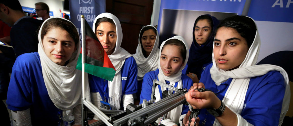 All-girl team from Afghanistan prepares to compete in first international robot Olympics as they were originally denied entry into the U.S. but participate after President Donald Trump intervened, in Washington, U.S., July 17, 2017. REUTERS/Yuri Gripas