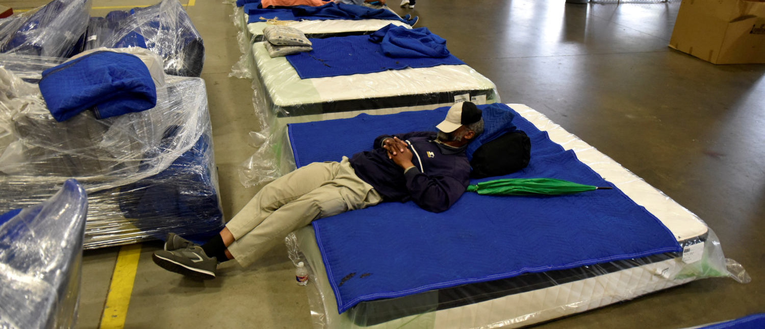 Evacuees get some rest in the warehouse at Gallery Furniture which opened its doors to residents needing shelter, in Houston, Texas, U.S., August 29, 2017. (Photo: REUTERS/Nick Oxford)v
