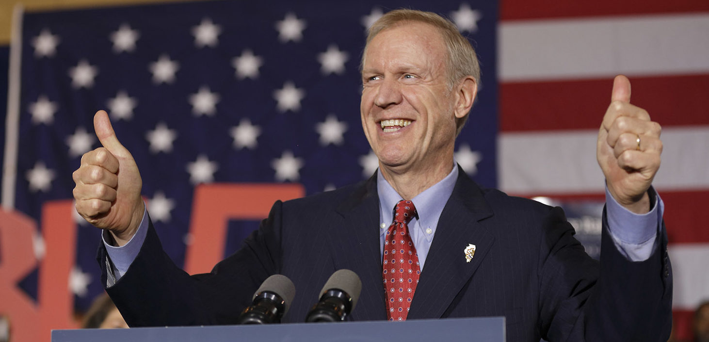 Republican gubernatorial candidate Bruce Rauner declares victory during his election night gathering while incumbent Democratic Gov. Pat Quinn is yet to concede on November 4, 2014 in Chicago, Illinois. Rauner leads by over 170,000 votes with 98 percent reporting. (Photo by John Gress/Getty Images)