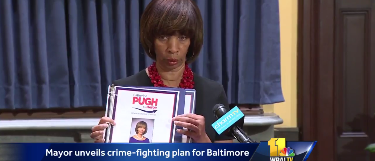 Baltimore Mayor Catherine Pugh announces her violent crime plan (Screenshot/WBAL video)