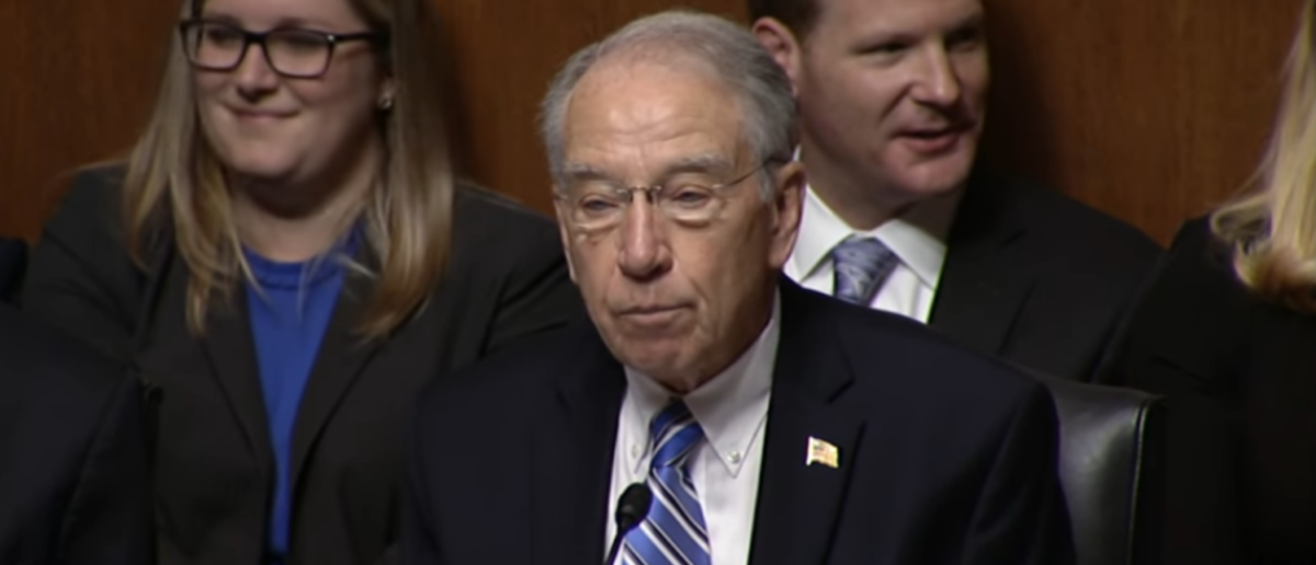 Sen. Chuck Grassley speaks during FBI Director Chris Wray's confirmation hearing. (YouTube screenshot/SenChuckGrassley)