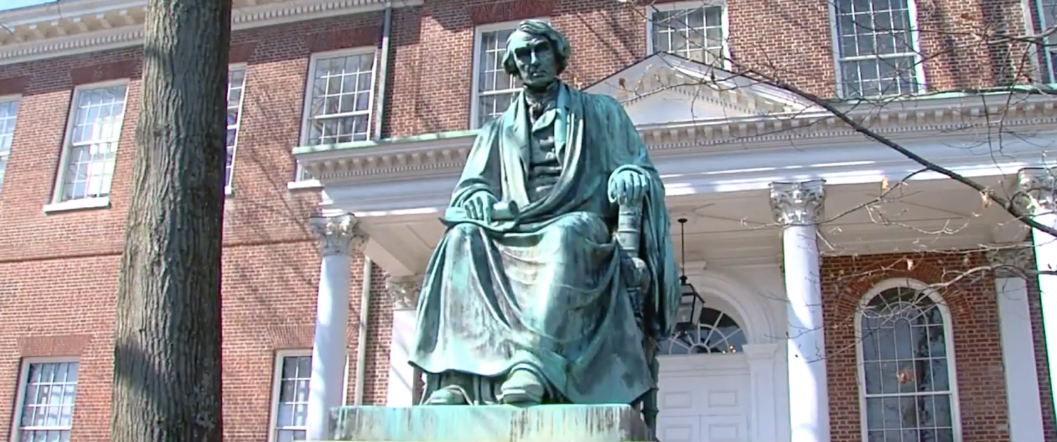 A statue of Chief Justice Roger Taney at the Maryland Statehouse. (YouTube Screenshot/ABC 2 News - WMAR)