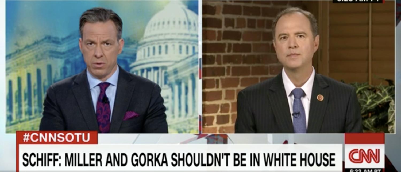 Rep. Adam Schiff speaks to Jake Tapper in August 2017. (Screenshot/CNN)