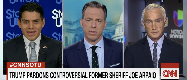Jorge Ramos and Steve Montenegro debate the Arpaio pardon on CNN in August 2017. (Screenshot/CNN)
