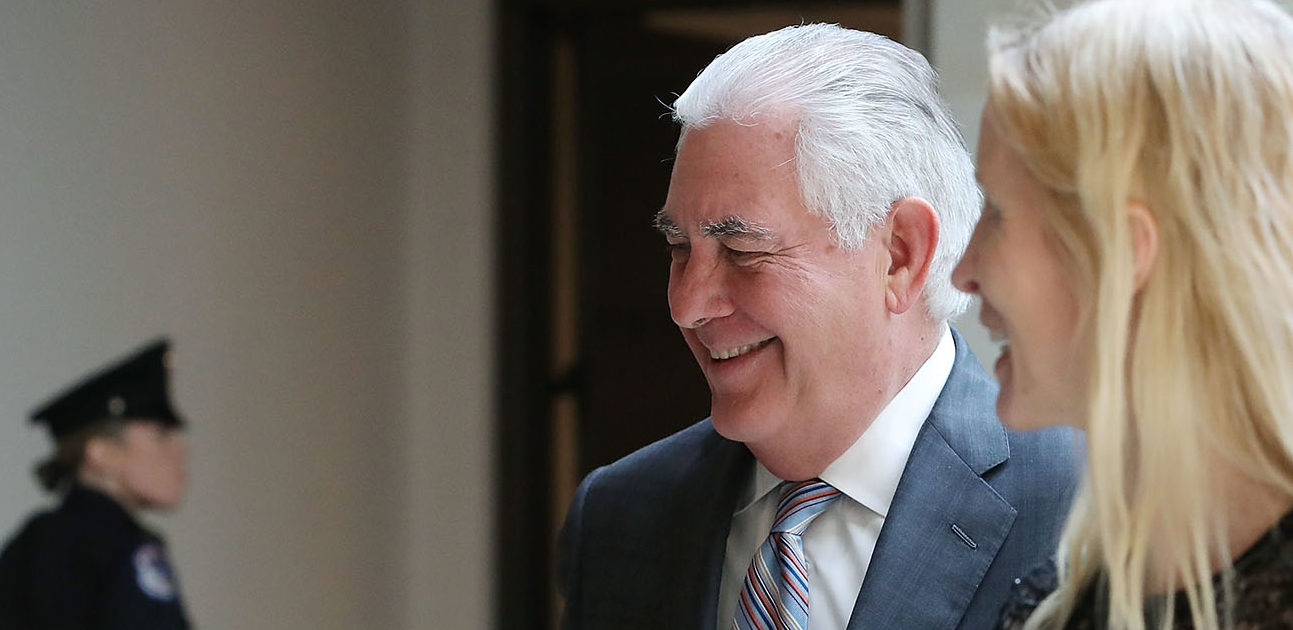 Secretary of State Rex Tillerson leaves a closed briefing at the U.S. Capitol with the Senate Foreign Relations Committee August 2, 2017 in Washington, DC. The committee was briefed on 'The Authorizations for the Use of Military Force: Administration Perspective. (Photo by Mark Wilson/Getty Images)