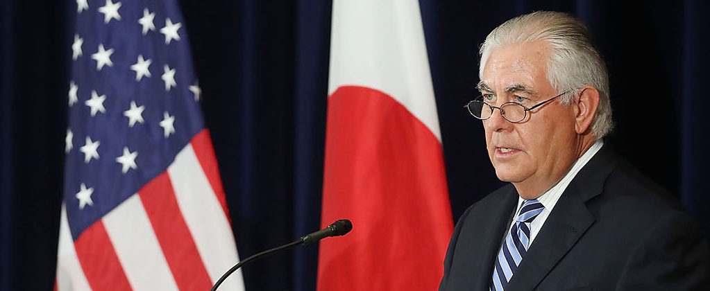 Secretary of State Rex Tillerson (R), speaks about North Korea as Japanese Foreign Minister Taro Kono listens, after a meeting of the U.S.-Japan Security Consultative Committee at the State Department, on August 17, 2017 in Washington, DC. (Photo by Mark Wilson/Getty Images)
