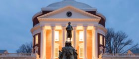 The Rotunda glows at night at the University of Virginia. (Shutterstock/Felix Lipov)