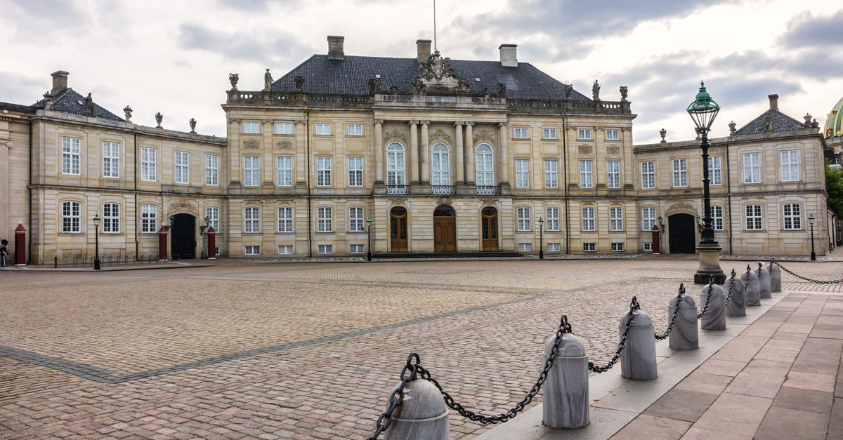 Shutterstock/ Amalienborg Palace (1760) - home of the Danish royal family. Royal Palace consists of four identical classical palace facades. Copenhagen, Denmark