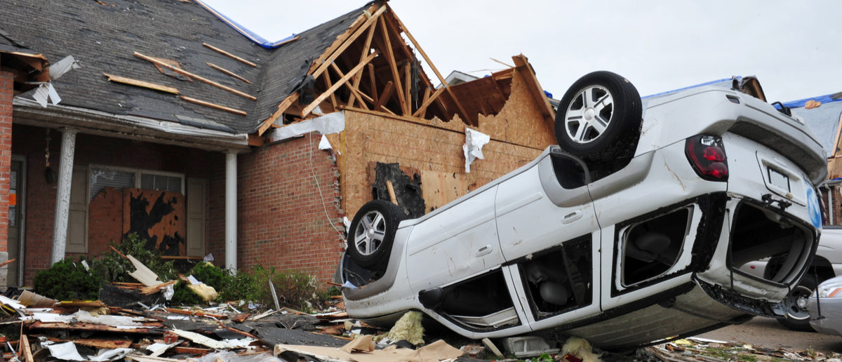Shutterstock/ST. LOUIS - APRIL 25, 2011: Cars and homes were heavily damaged by a tornado that swept through Maryland Heights in the suburbs of St. Louis on Good Friday, April 22, 2011.