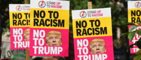 Demonstrators gathered outside the American Embassy in Central London, to protest against the racism escalation following the riot in Charlottesville, London on August 19, 2017. In Charlottesville, Virginia, took place the most violent clashes at the largest gathering of white nationalists in America for decades. President Donald Trump has been criticized for his reaction, considered too soft. (Photo by Alberto Pezzali/NurPhoto via Getty Images)