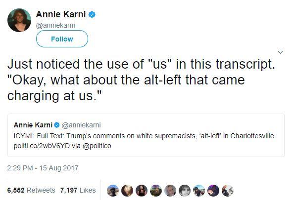 Annie Karni tweets about Donald Trump (Screenshot: Twitter)