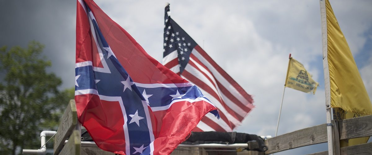 A Confederate flag is displayed on a truck at the Gettysburg National Military Park on July 1, 2017 in Gettysburg, Pennsylvania.  The U.S. park service issued protest permits for three groups, including Sons of Confederate Veterans, and Real 3% Risen, on the 154th anniversary of the battle. Mark Makela/Getty Images.
