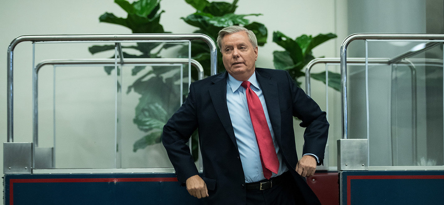 Sen. Lindsey Graham gets off the Senate subway on his way to an amendment vote on the GOP heath care legislation on Capitol Hill, July 27, 2017 in Washington, D.C. (Photo by Drew Angerer/Getty Images)