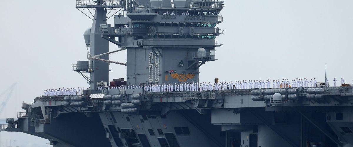 Sailors man the rails as aircraft carrier USS Nimitz with Carrier Strike Group 11, and some 7,500 sailors and airmen depart for a 6 month deployment in the Western Pacific from San Diego, California, U.S., June 5, 2017. REUTERS/Mike Blake.