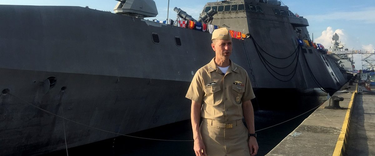 Chief of U.S. Naval Operations Admiral John Richardson poses in Singapore