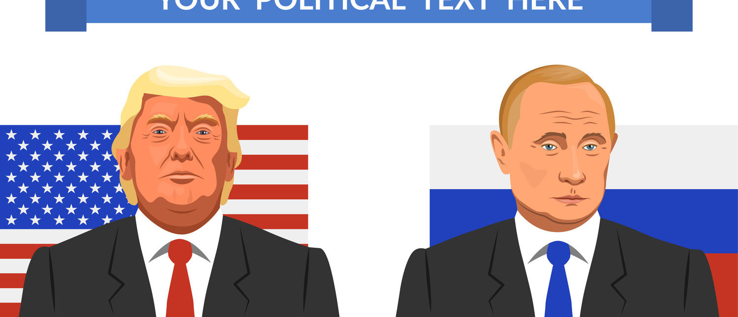 Vector illustration. Presidents of the Russian Federation and the US Vladimir Putin and Donald Trump. Meeting, conflict or negotiation (Shutterstock/aisvector)