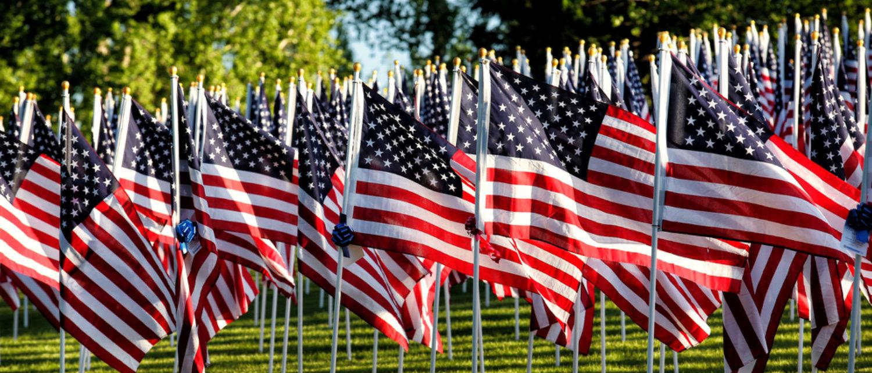 American flag display (Shutterstock/B Brown)