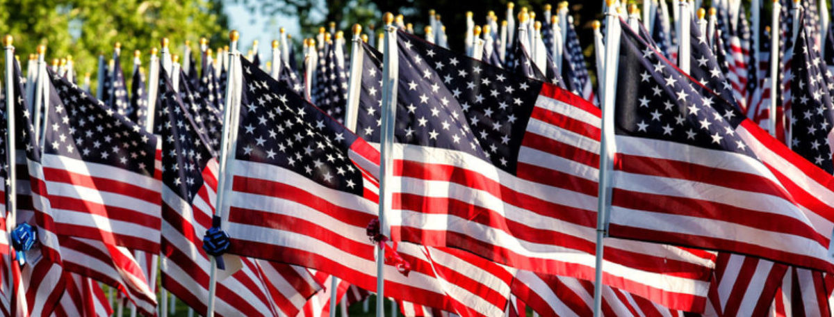 American flag display (Shutterstock/B Brown)