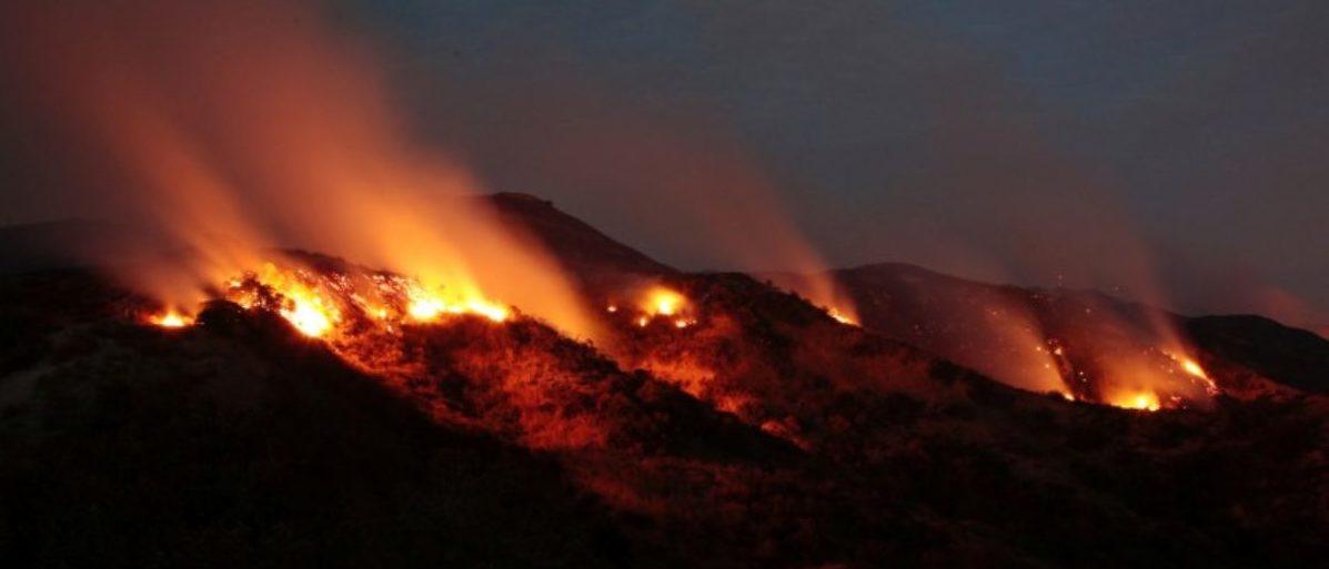 The La Tuna Canyon fire over Burbank, California. REUTERS/Kyle Grillot