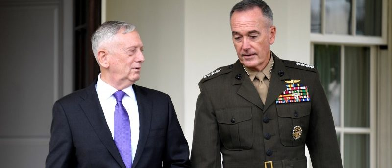 Secretary of Defense James Mattis (L) walks with Chairman of the Joint Chiefs of Staff Gen. Joseph Dunford from the West Wing of the White House to make a statement in response to North Korea's latest nuclear testing, in Washington, U.S., September 3, 2017. REUTERS/Mike Theiler