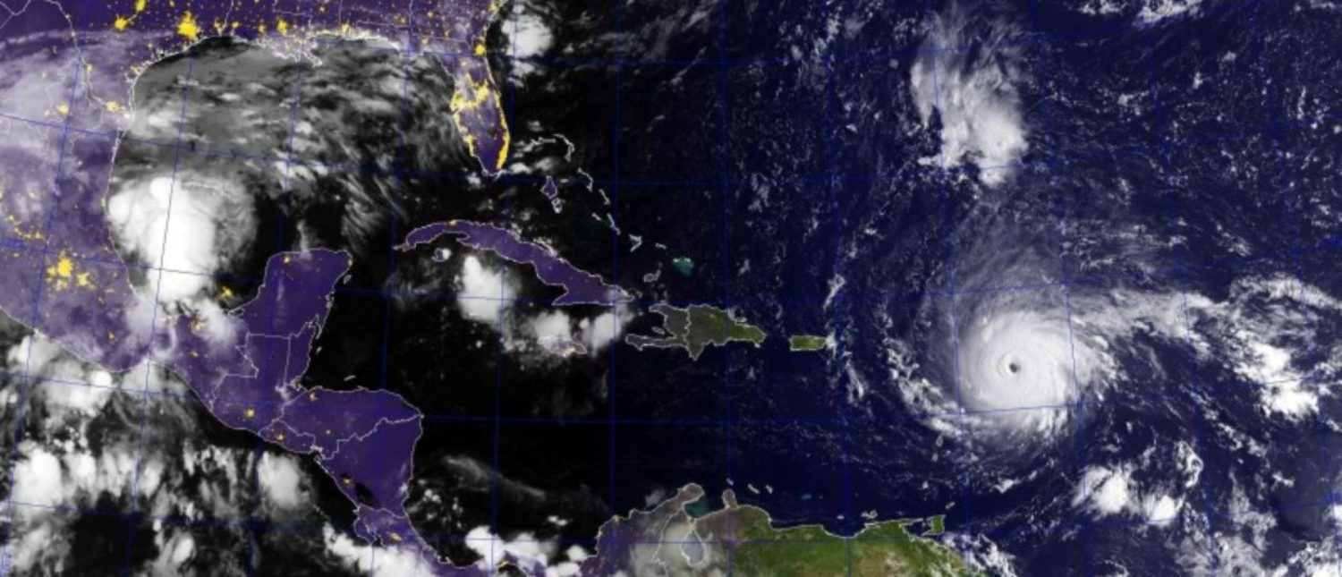 Hurricane Irma, a category 4 hurricane with maximum sustained winds near 150 mph (240 km/h) with higher gusts, is shown in this GOES satellite image in the Atlantic Ocean east of the Leeward Islands and Puerto Rico and the Dominican Republic, September 5, 2017. U.S. Navy photo/Handout via REUTERS