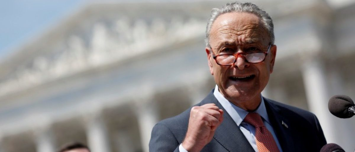 Senate Minority Leader Chuck Schumer speaks during a press conference for the Democrats' new economic agenda on Capitol Hill in Washington